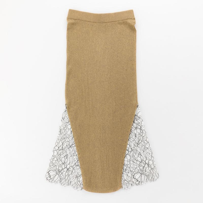 glittery ribbed skirt with leavers lace