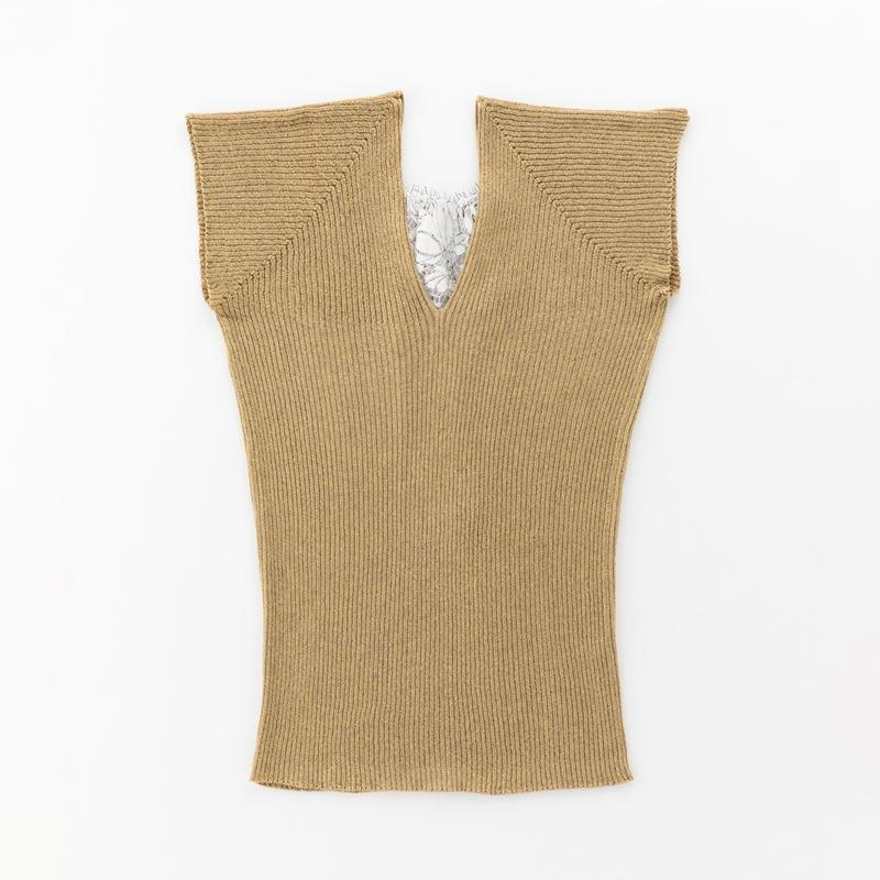 glittery ribbed top with leavers lace