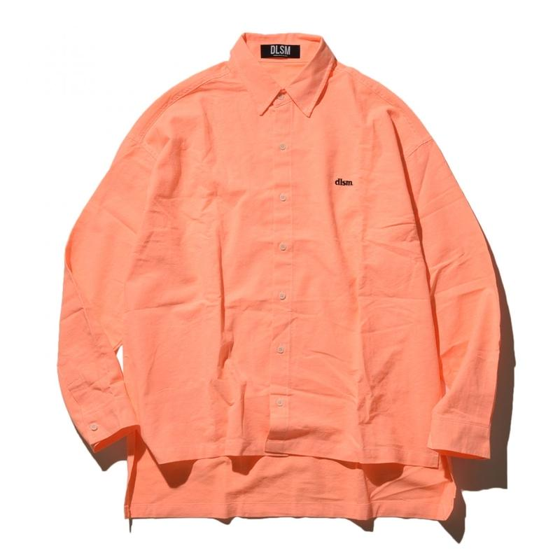 """19SS"" DLSM ディーエルエスエム DLSM SMALL LOGO NEON COLOR BIG SHIRT -S.Orange-"