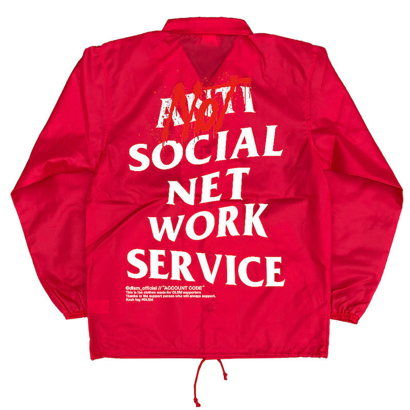 """18SS""  DLSM ディーエルエスエム NOT ANTI SNS COACH JACKET  -Red-"
