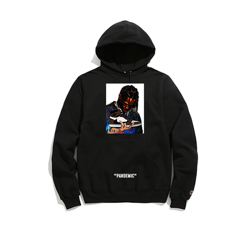 """19SS""   PANDEMIC×CHAMPION  パンデミック×チャンピオン  Kicks Scott  Hoody -Travis Scott×Jordan1-   -Black-"