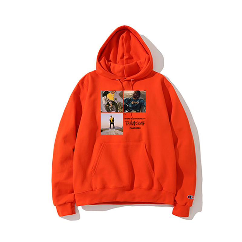 """19SS""  PANDEMIC×CHAMPION  パンデミック×チャンピオン  Travis Photo  Hoody  -Orange-"