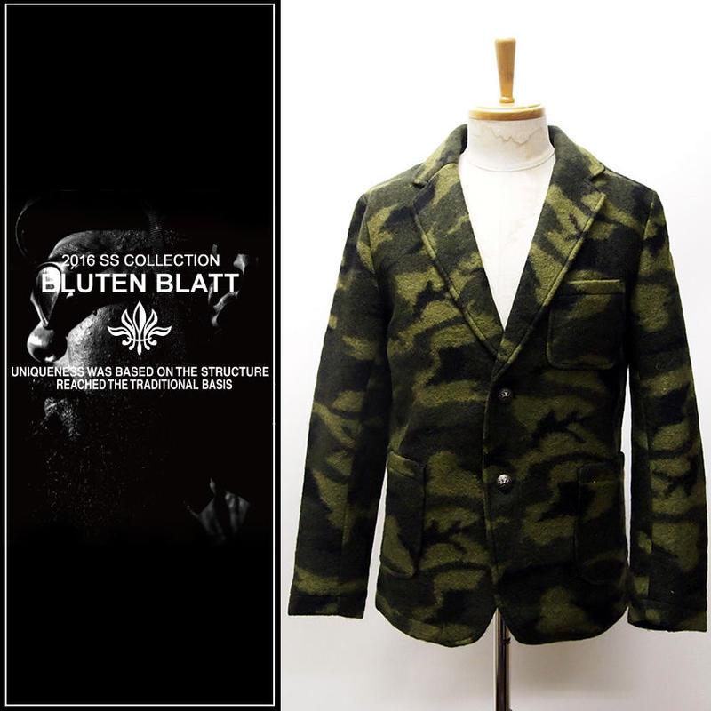 BLUTENBLATT ブリューテンブラット  Wool Camouflage Tailor Jacket-OLIVE-