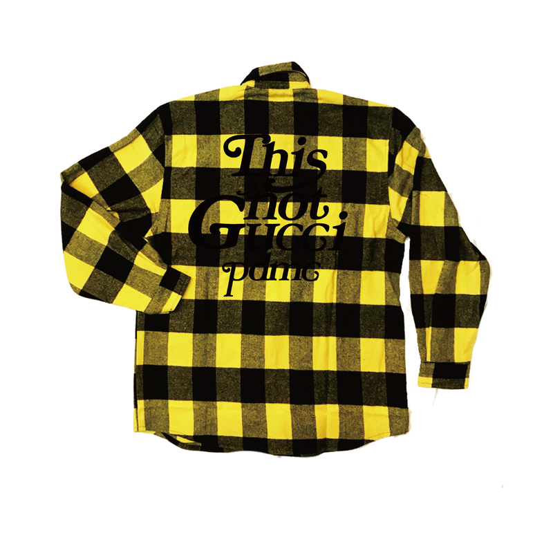 """18AW""  PANDEMIC ×Rothco Extra Heavyweight  Check Shirt  ""This is Not"" -Yellow-"