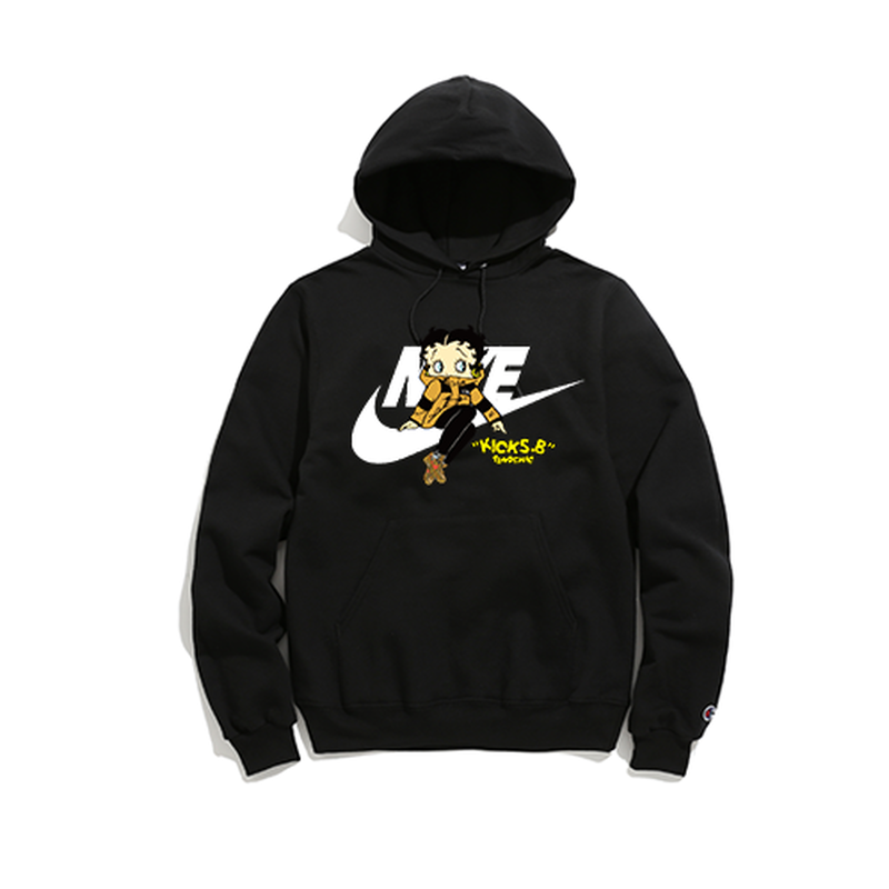"""19SS""   PANDEMIC×CHAMPION  パンデミック×チャンピオン  Kicks Betty  Hoody -O.W×AIR MAX 90-  -Black-"