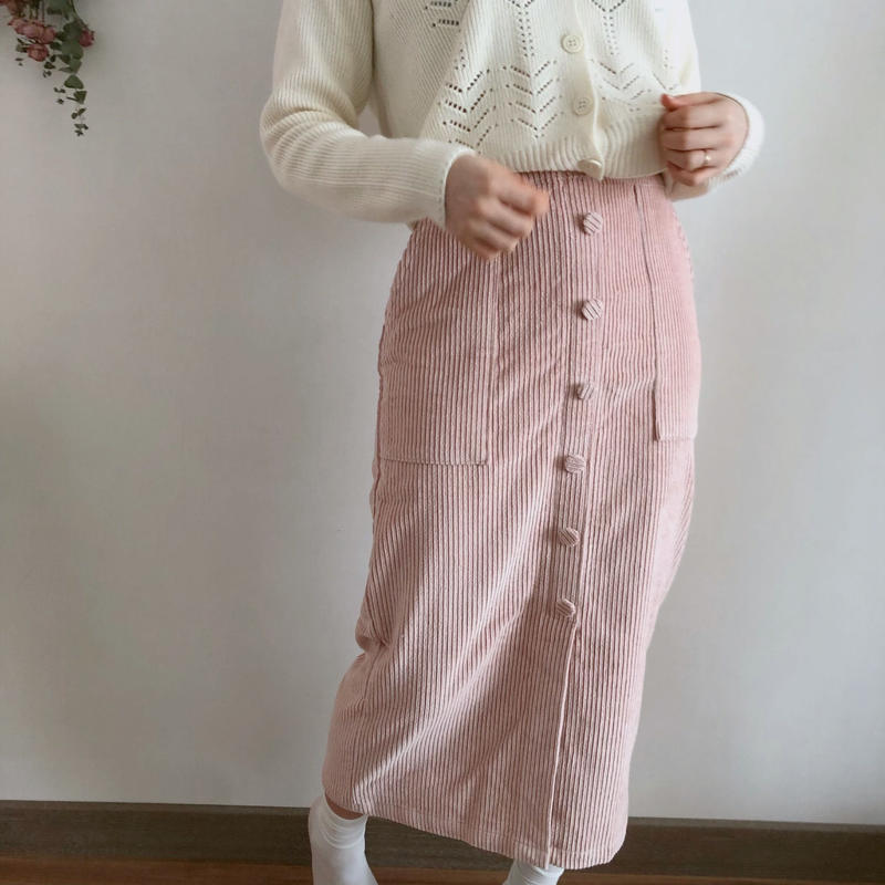【春の新作】Botton long Skirt 【pink】