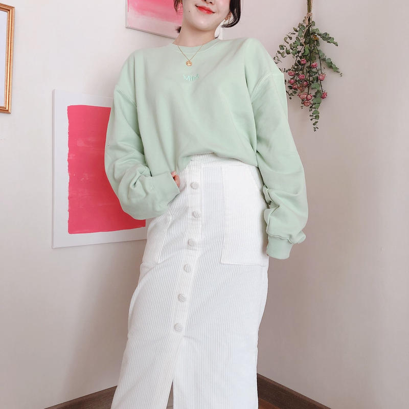 【春の新作】Botton long Skirt 【Ivory】