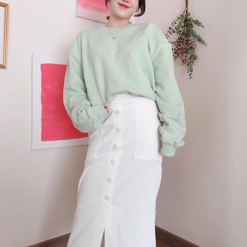 【春の新作】Botton long Skirt 【Ivory】