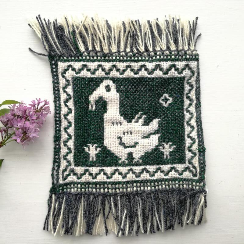 ヤノフ村の織物 コースター コウノトリ(18×17cm)