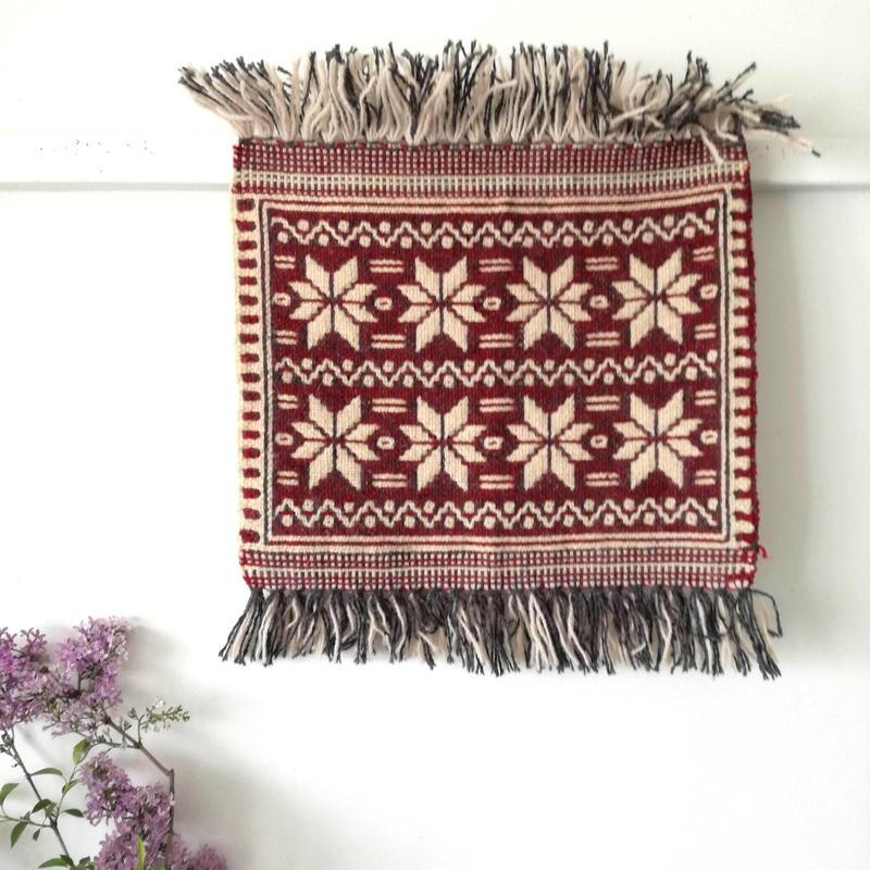 ヤノフ村の織物 タペストリー  伝統的な幾何学模様(40×35cm)#2388