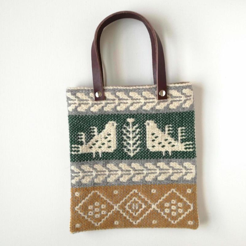 ヤノフ村の織物 ミニトートバッグ 鳥と幾何学模様