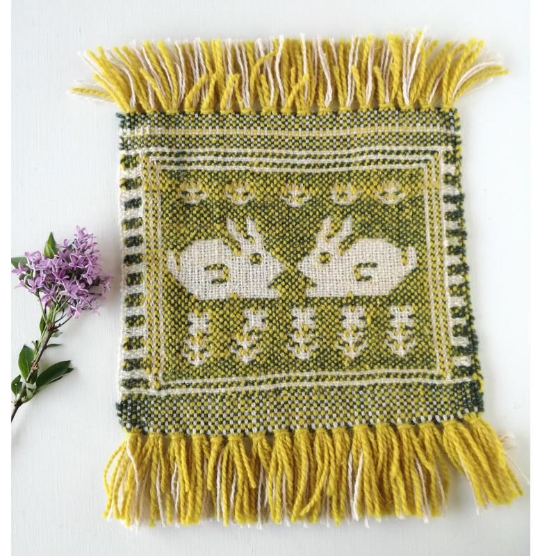 ヤノフ村の織物 ミニタペストリー 向かいあうウサギ(22×18cm)#2344