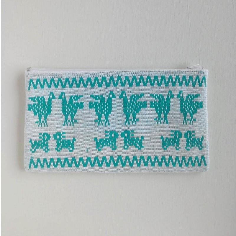 オアハカの手織り サン・マテオのポーチ(L) トリ、ウサギ、キツネ、リス