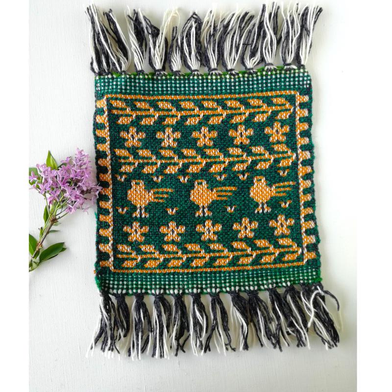 ヤノフ村の織物 ミニタペストリー 鳥と花と葉(21×24cm) #2325