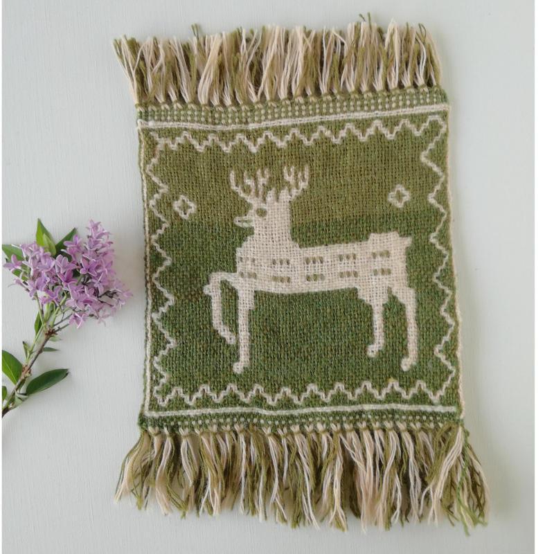 ヤノフ村の織物 ミニタペストリー 跳ねる鹿(20×20cm) #2295