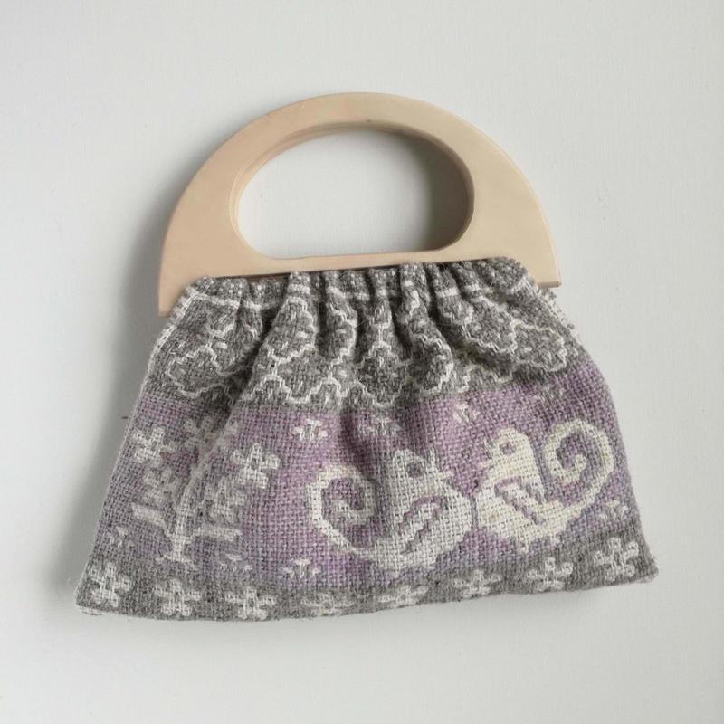 ヤノフ村の織物 グラニーバッグ  鳥とお花と幾何学模様 #2434