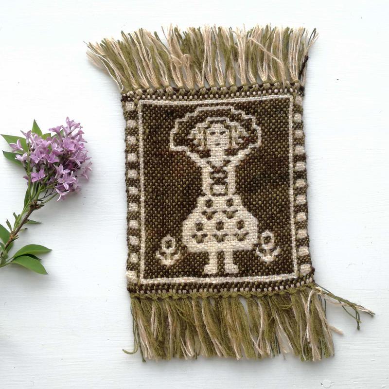 ヤノフ村の織物 コースター 縄跳びをする女の子(14×16cm)