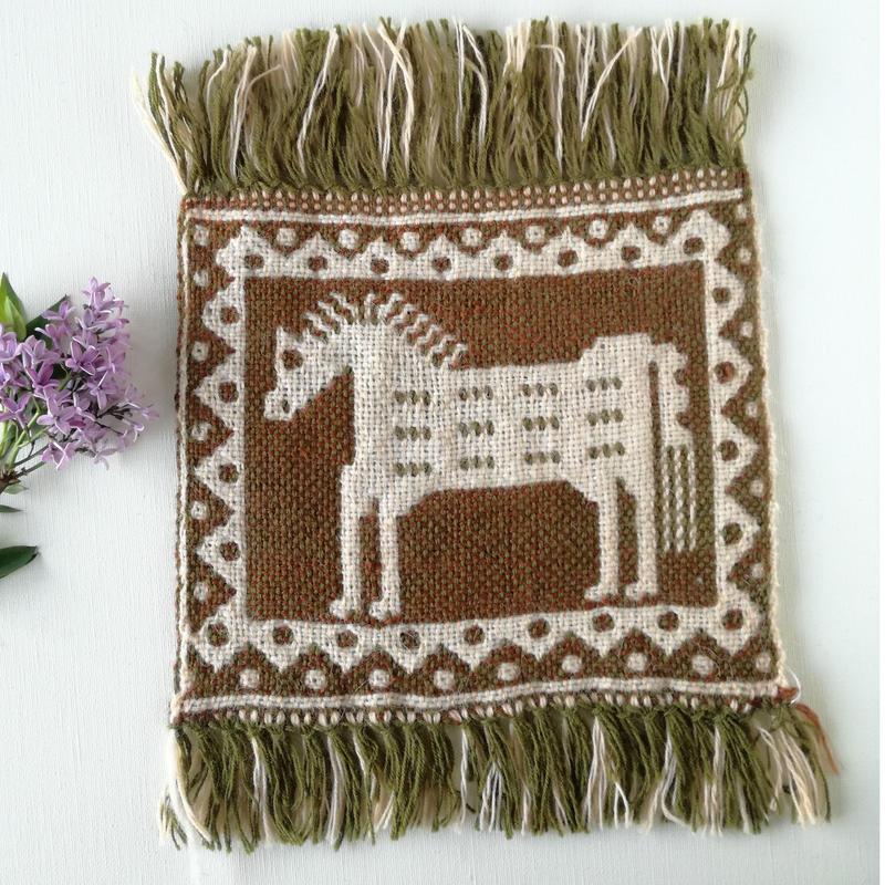 ヤノフ村の織物 ミニタペストリー 凛々しいたてがみの馬(20×20cm) #2283