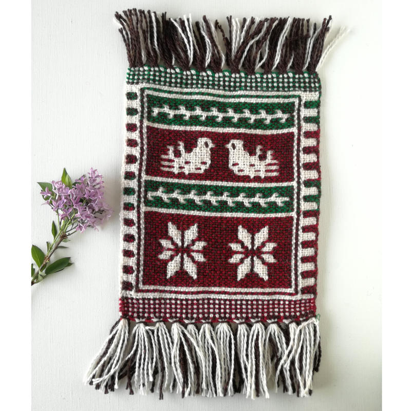 ヤノフ村の織物 ミニタペストリー 向かいあう鳥(20×21cm)#2420