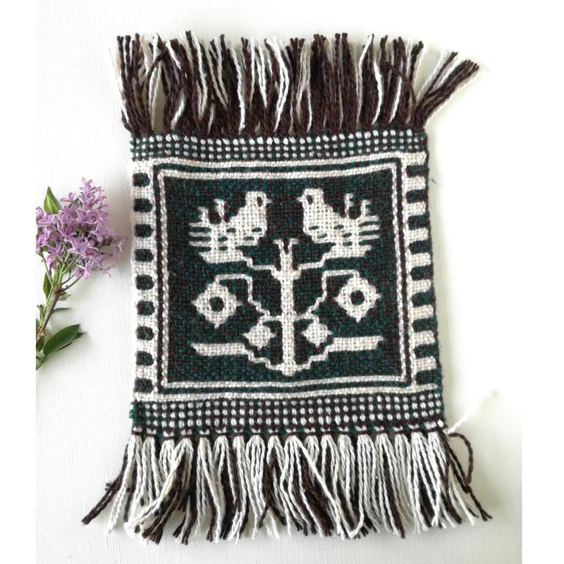 ヤノフ村の織物 ミニタペストリー 木にとまる鳥(18×18cm)#2339