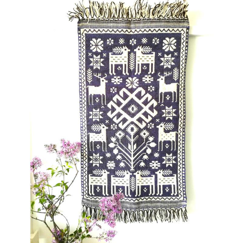 ヤノフ村の織物 タペストリー 森の中の鹿(46×81cm) #2406