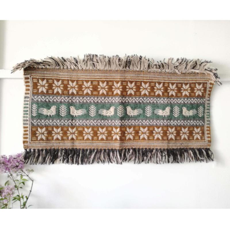 ヤノフ村の織物 タペストリー 鳥と幾何学模様(88×36cm) #2412