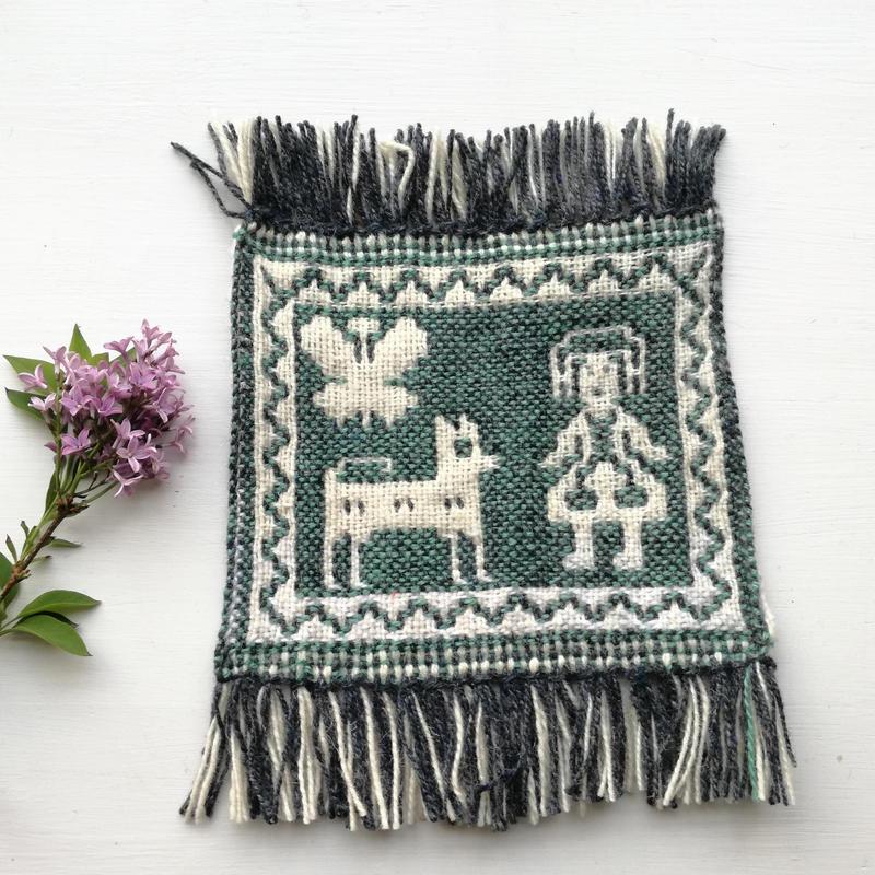 ヤノフ村の織物 コースター 犬と蝶と女の子(18×16cm)