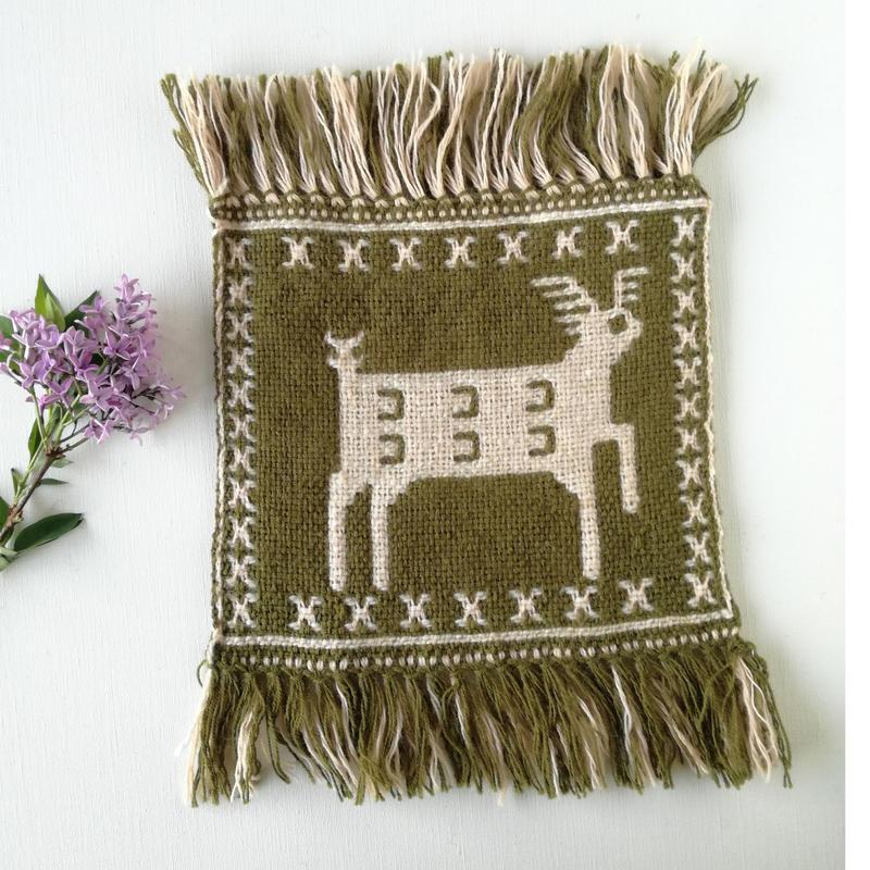 ヤノフ村の織物 ミニタペストリー 跳ねる鹿(20×20cm) #2294