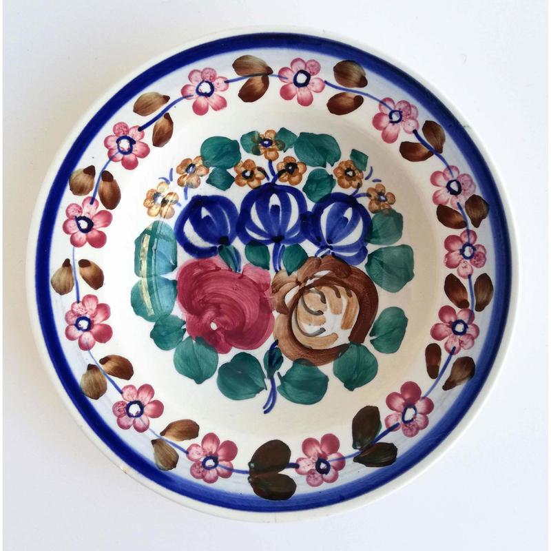 ヴウォツワヴェク陶器 中皿(直径17.5cm)#3076