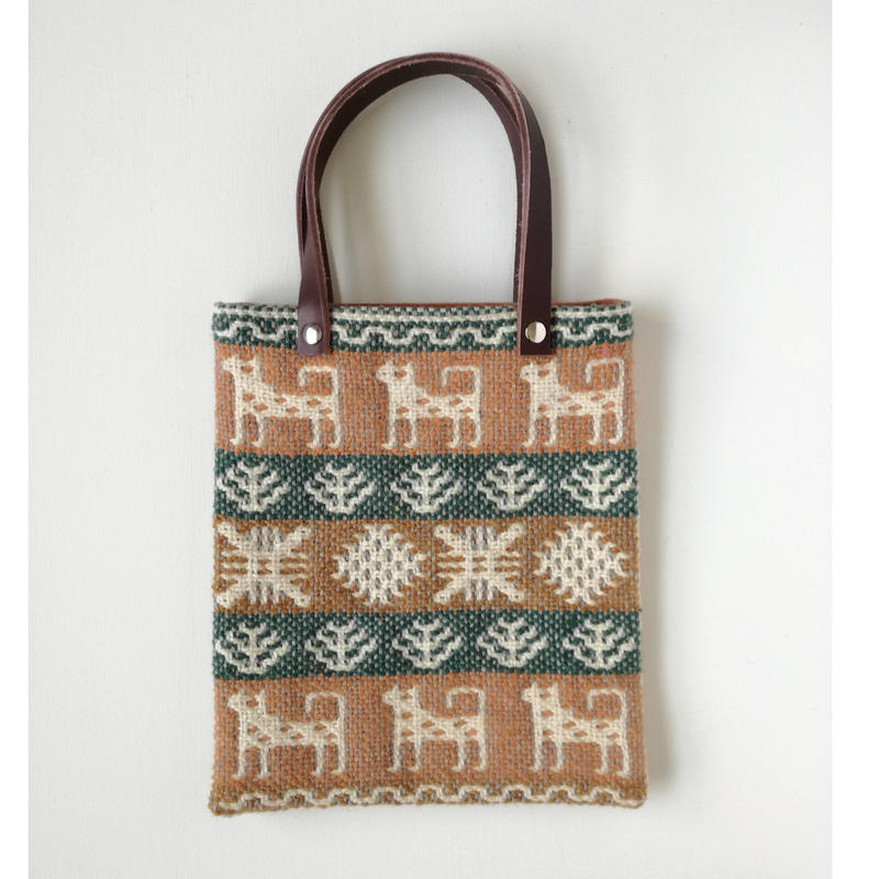 ヤノフ村の織物 ミニトートバッグ 犬と幾何学模様