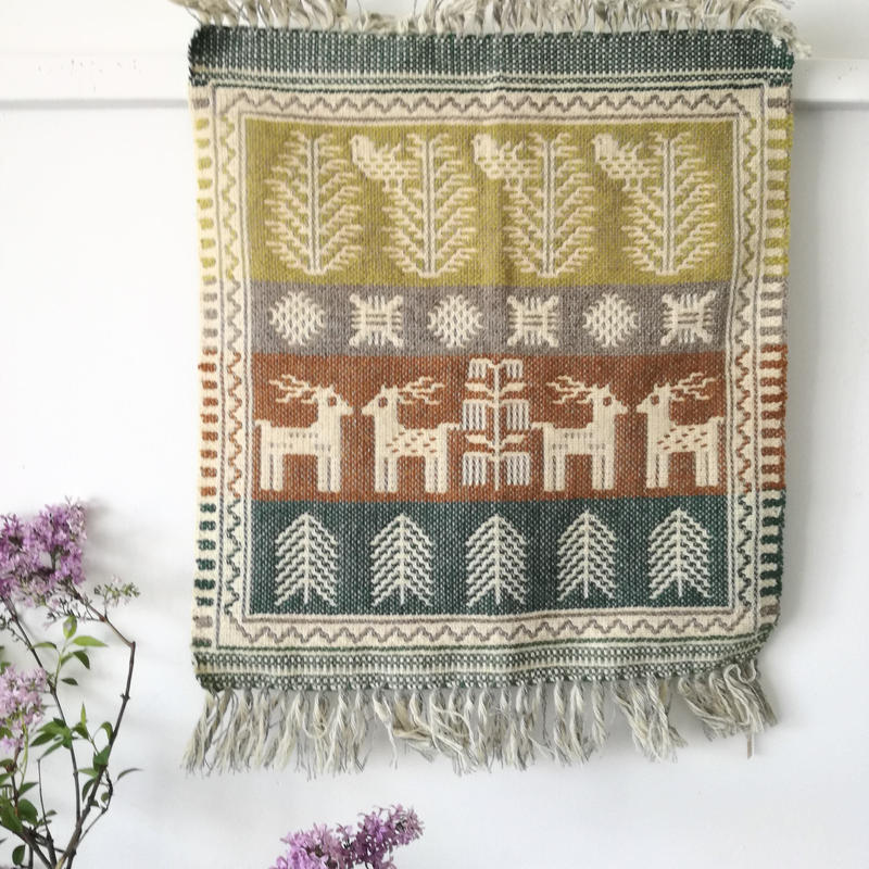 ヤノフ村の織物 タペストリー 森の中の鹿と鳥(44×51cm)#2362