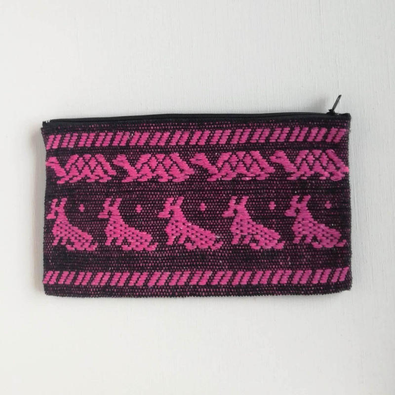 オアハカの手織り サン・マテオのポーチ(L) カメ、キツネ、チョウ、ウサギ、