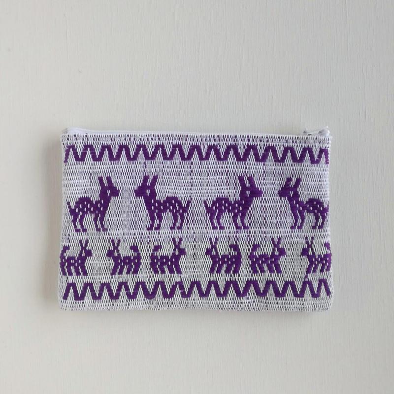 オアハカの手織り サン・マテオのポーチ(M) シカ、トリ、ウサギ