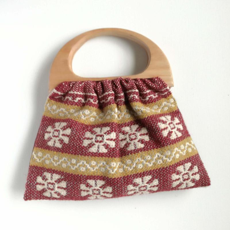 ヤノフ村の織物 グラニーバッグ 幾何学的なお花  #2424