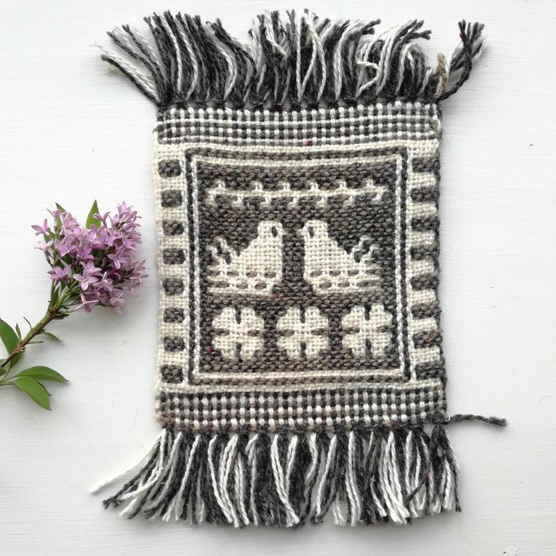 ヤノフ村の織物 コースター 向かいあう鳥(16×18cm)