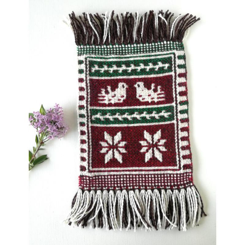 ヤノフ村の織物 ミニタペストリー 向かいあう鳥(20×21cm)#2416