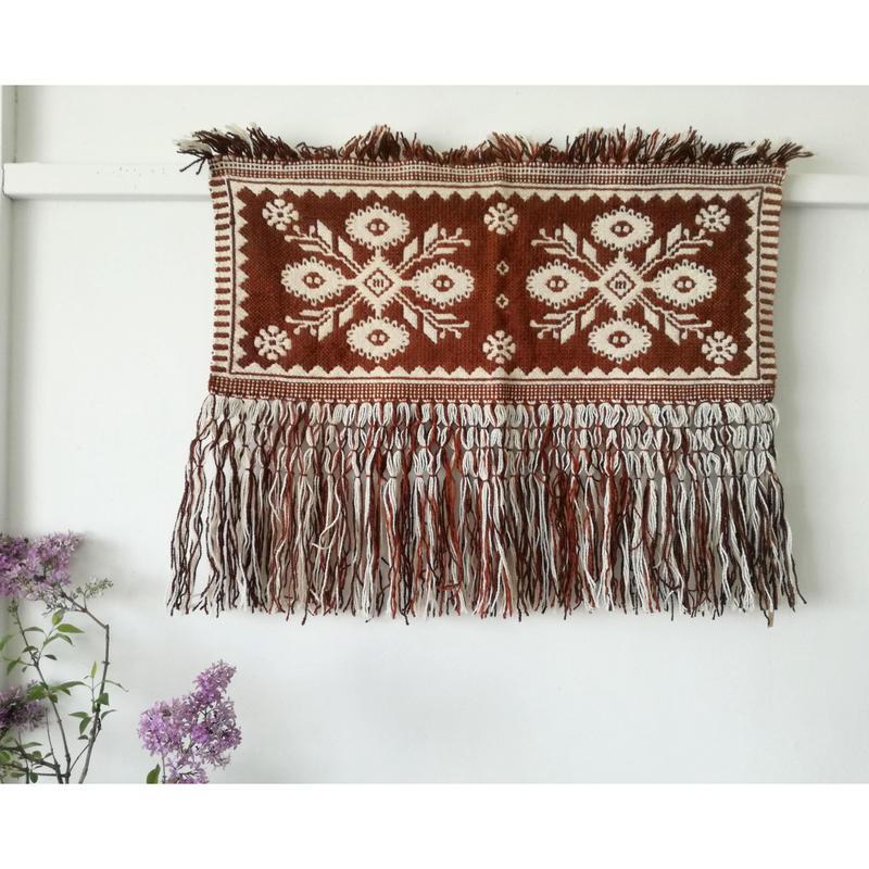 ヤノフ村の織物 タペストリー 伝統的な花(72×30cm)#2068