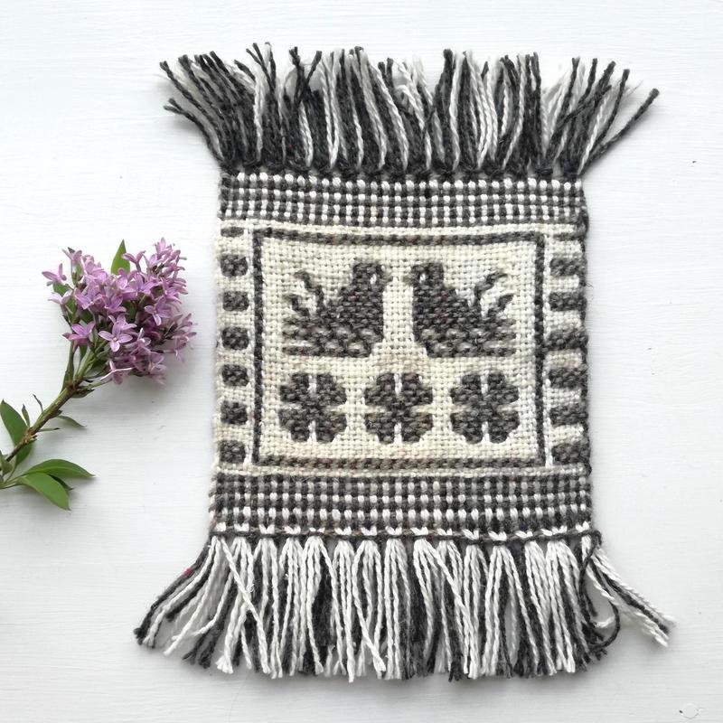 ヤノフ村の織物 コースター 向かいあう鳥(16×15cm)