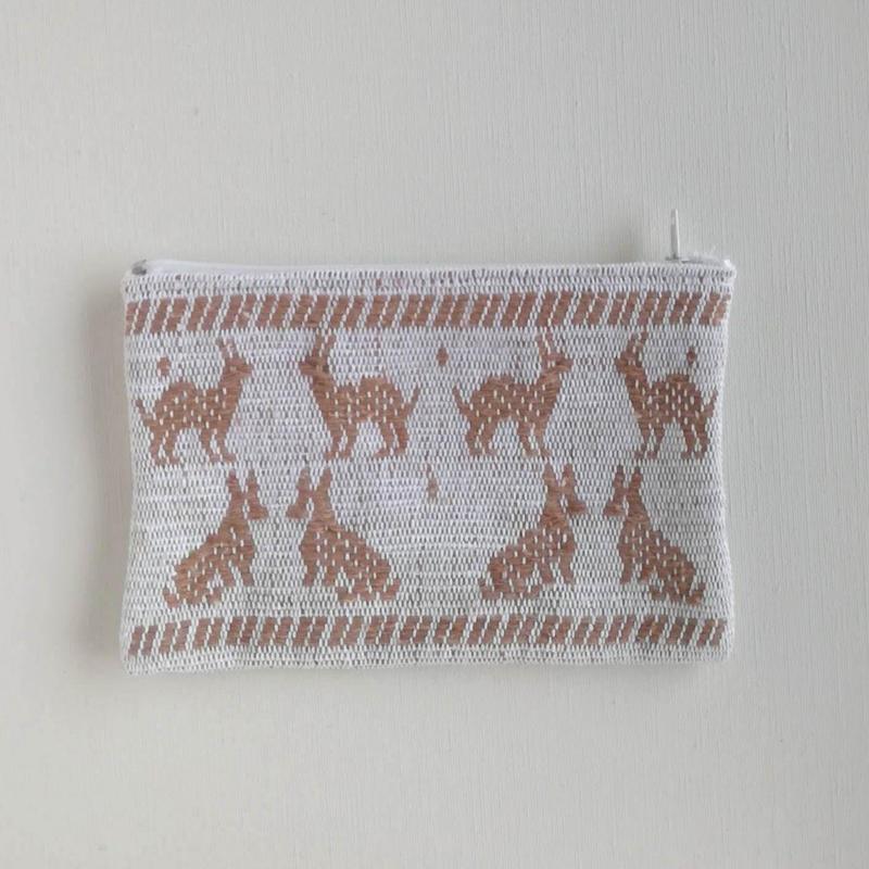 オアハカの手織り サン・マテオのポーチ(M) ウサギ、キツネ、リス