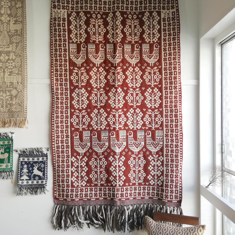 ヤノフ村の織物 大判タペストリー 七面鳥と花の咲く木(98×158cm) #2172