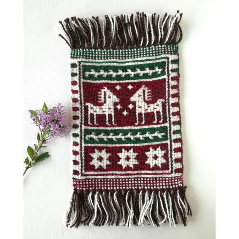 ヤノフ村の織物 ミニタペストリー 向かいあう馬(20×21cm) #2417