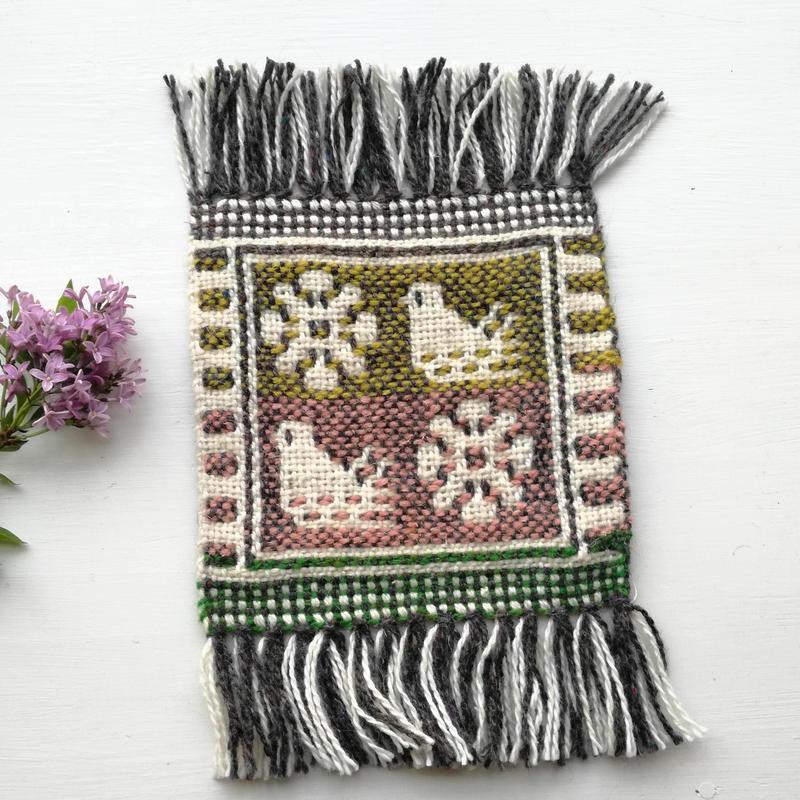 ヤノフ村の織物 コースター 鳥と花(16×16cm)