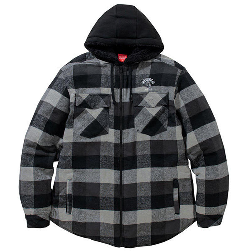 QUILTED FLANNEL ZIP HOODIE (GRAY)