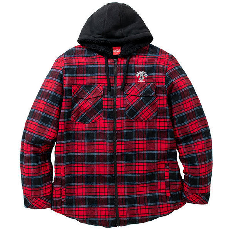 QUILTED FLANNEL ZIP HOODIE (RED)