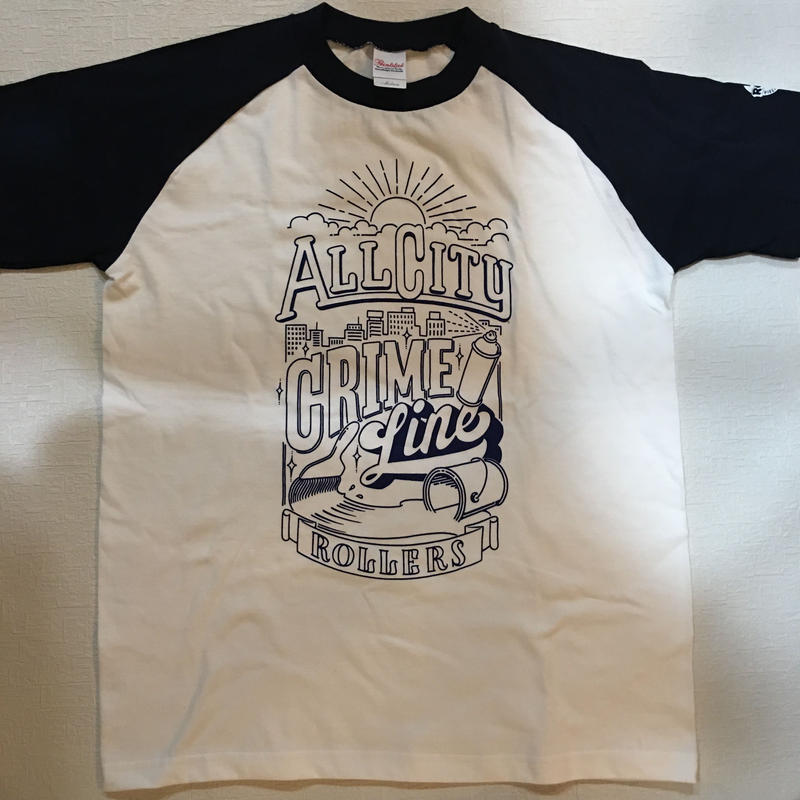 ROLLERS / CRIME LINE S/S Tee . White × Navy