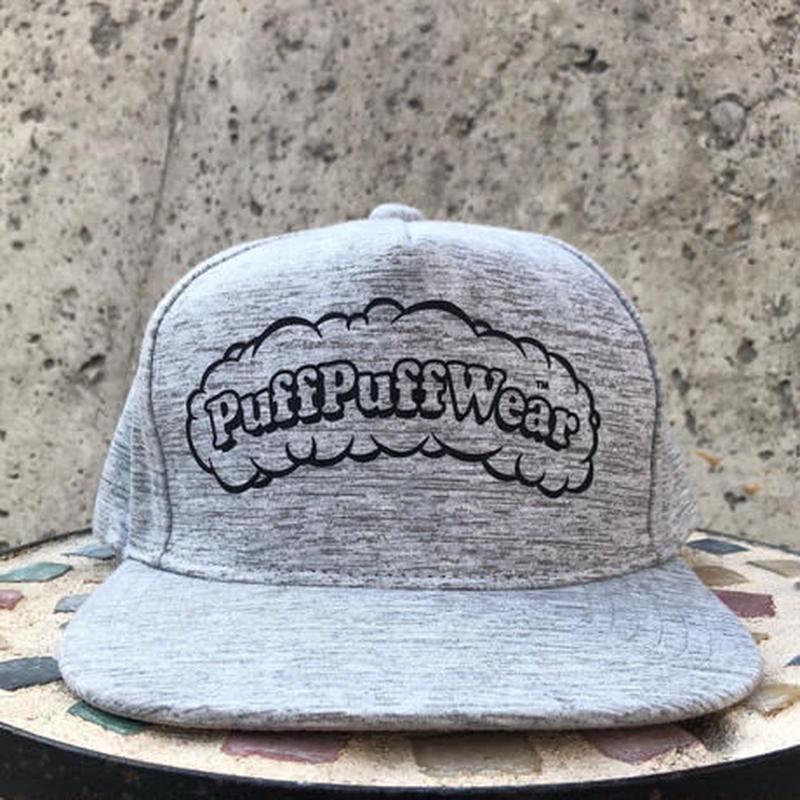 【霜降り透けプリント】Puff Puff SNAPBACK CAP(GRAY/WHITE)