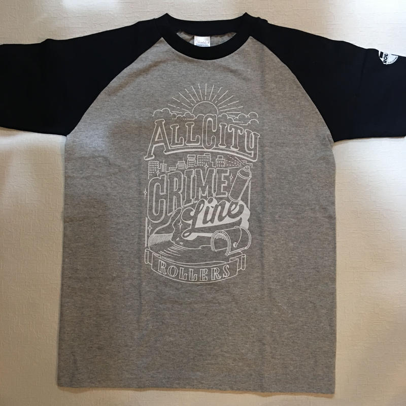 ROLLERS / CRIME LINE S/S Tee . Gray × Black