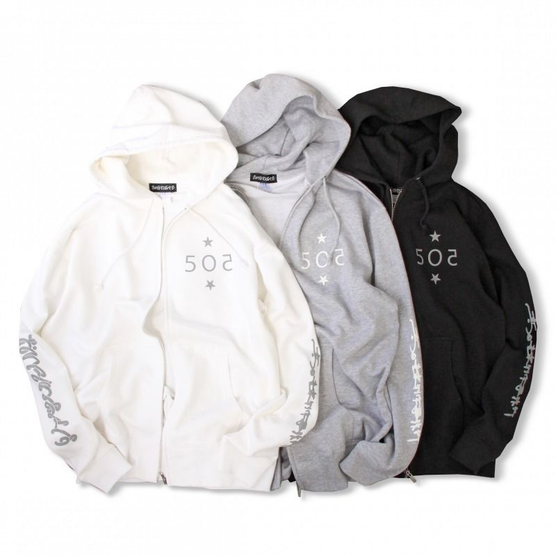 5O2 ZIP HOOD -WHITE size L only-