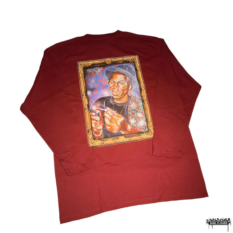 Burning Long Tee(Burgundy) -size XL only-