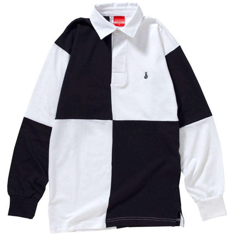 QUARTERED RUGBY SHIRTS (NAVY/WHT)